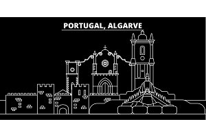 Algarve silhouette skyline. Portugal - Algarve vector city, portuguese linear architecture, buildings. Algarve travel illustration, outline landmarks. Portugal flat icon, portuguese line banner