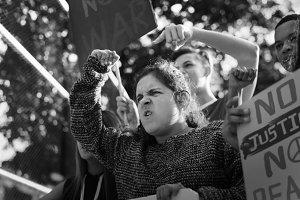Angry girl protesting demonstration