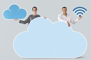 People holding cloud and tech (PSD)