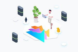 Trade Cryptocurrency Lab Isometric