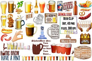 Beer, Beer Food & Word Art ClipArt