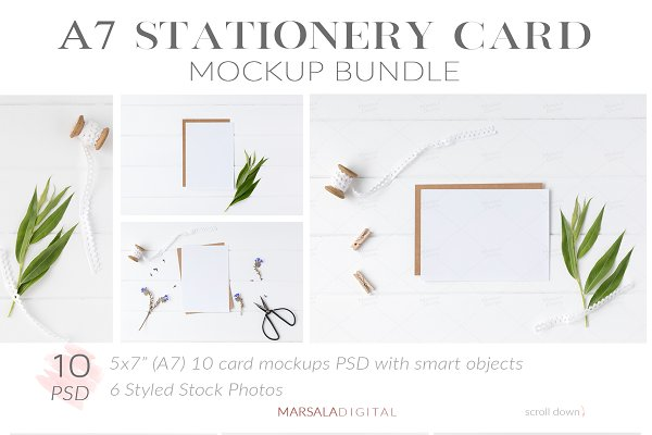 A7 Stationery Card Mockup Bundle