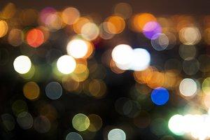 Blurred street bokeh lights at night