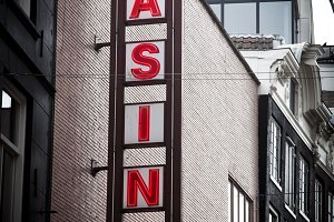 Casino red sing on the building