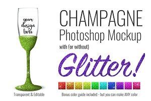 Champagne Flute Mockup w/ Glitter