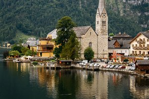 Scenic view of Hallstatt in Austrian Alps