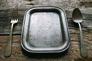 Old spoon and fork tray