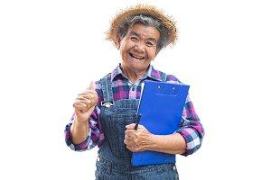 Happy old Asian gardener