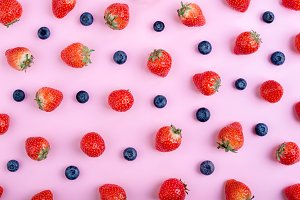 Strawberry and blueberry pattern
