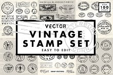 Vector Vintage Stamp Set by  in Icons