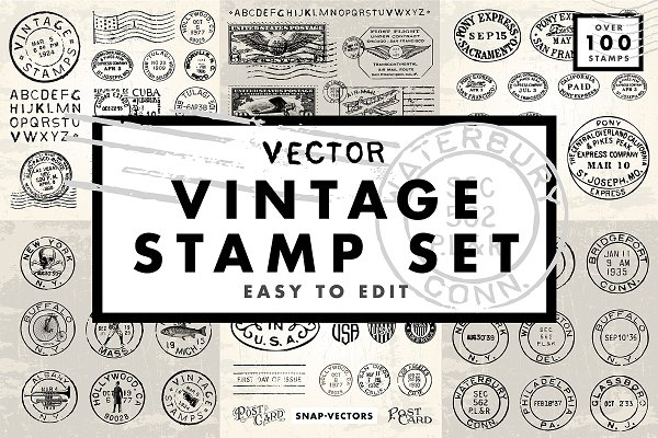 Icons: Snap Vectors - Vector Vintage Stamp Set