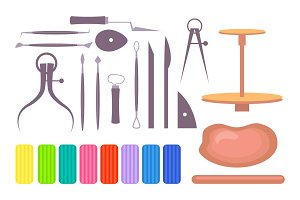 Various Art School Instruments and Tools Illustration