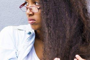 angry afro girl