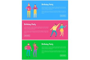 Birthday Party Web Online Posters Man and Woman