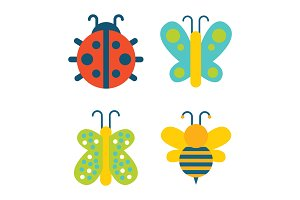 Insects Collection Creatures Vector Illustration