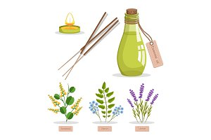 Sandalwood and Olibanum Set Vector Illustration