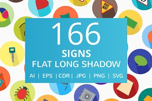 166 Signs Flat Long Shadow Icons
