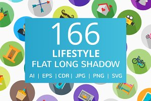 166 Lifestyle Flat Long Shadow Icons