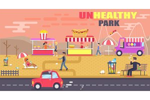 Unhealthy Park Banner, Color Vector Illustration