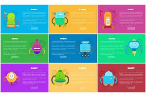 Robot Web Pages Collection Vector Illustration