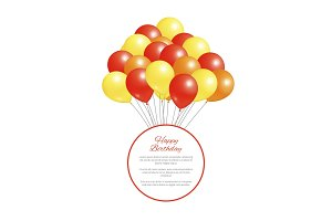 Happy Birthday Postcard Balloons Big Bundle Party