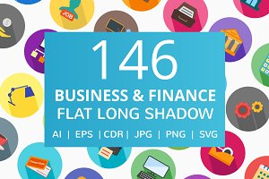 146 Business & Finance Flat Icons