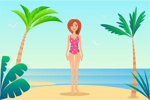 Summer Rest Banner, Pretty Woman in Mode Swimsuit