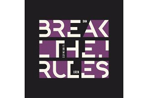Break the rules abstract geometric vector t-shirt and apparel de