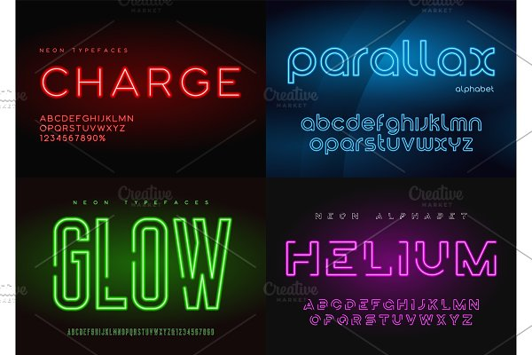 Glowing neon vector letter set ~ Illustrations ~ Creative Market