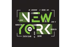 New York vector t-shirt and apparel geometric design, typography