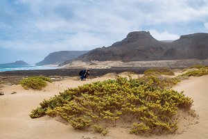 Freedom, space, solitude and lonely bay on the eastern coastline of Sao Vicente Island Cape Verde