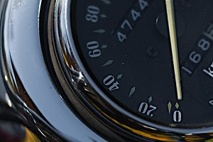 Motorcycle speedometer closeup view