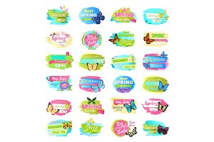 Spring Collection of Banners Vector Illustration