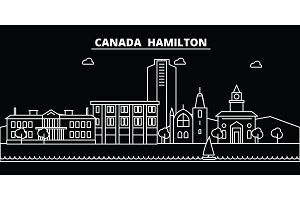 Hamilton silhouette skyline. Canada - Hamilton vector city, canadian linear architecture, buildings. Hamilton travel illustration, outline landmarks. Canada flat icon, canadian line banner
