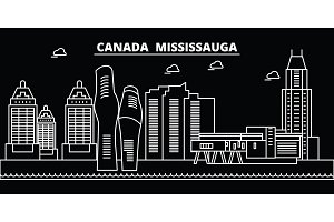 Mississauga silhouette skyline. Canada - Mississauga vector city, canadian linear architecture, buildings. Mississauga travel illustration, outline landmarks. Canada flat icon, canadian line banner