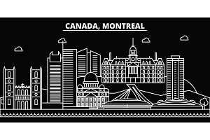 Montreal silhouette skyline. Canada - Montreal vector city, canadian linear architecture, buildings. Montreal travel illustration, outline landmarks. Canada flat icon, canadian line banner