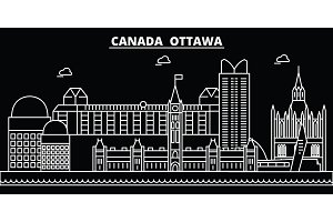 Ottawa silhouette skyline. Canada - Ottawa vector city, canadian linear architecture, buildings. Ottawa travel illustration, outline landmarks. Canada flat icon, canadian line banner