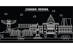 Regina silhouette skyline. Canada - Regina vector city, canadian linear architecture, buildings. Regina travel illustration, outline landmarks. Canada flat icon, canadian line banner