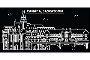 Saskatoon silhouette skyline. Canada - Saskatoon vector city, canadian linear architecture, buildings. Saskatoon travel illustration, outline landmarks. Canada flat icon, canadian line banner