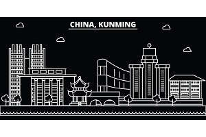 Kunming silhouette skyline. China - Kunming vector city, chinese linear architecture, buildings. Kunming travel illustration, outline landmarks. China flat icon, chinese line banner
