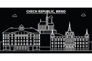 Brno silhouette skyline. Czech Republic - Brno vector city, czech linear architecture, buildings. Brno travel illustration, outline landmarks. Czech Republic flat icon, czech line banner
