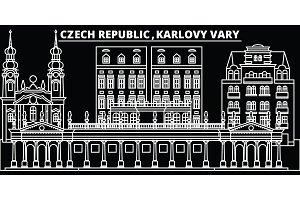 Karlovy Vary silhouette skyline. Czech Republic - Karlovy Vary vector city, czech linear architecture. Karlovy Vary travel illustration, outline landmarks. Czech Republic flat icon, czech line banner