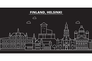 Helsinki silhouette skyline. Finland - Helsinki vector city, finnish linear architecture, buildings. Helsinki travel illustration, outline landmarks. Finland flat icon, finnish line banner