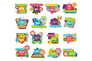 Set of Colorful Labels Springtime Flowers, Adverts