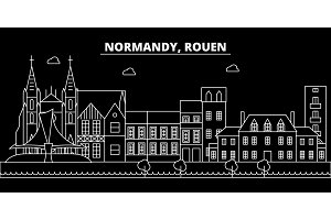 Rouen silhouette skyline. France - Rouen vector city, french linear architecture, buildings. Rouen travel illustration, outline landmarks. France flat icon, french line banner