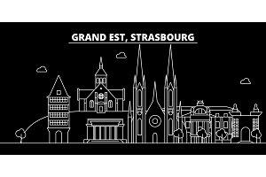 Strasbourg silhouette skyline. France - Strasbourg vector city, french linear architecture, buildings. Strasbourg travel illustration, outline landmarks. France flat icon, french line banner
