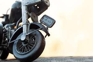 Close-up of miniature toy motorcycle