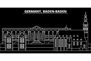 Baden-Baden silhouette skyline. Germany vector city, german linear architecture, buildingline travel illustration, landmarks. Germany icon, german outline design banner