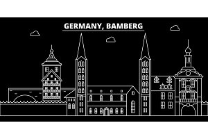 Bamberg silhouette skyline. Germany - Bamberg vector city, german linear architecture, buildings. Bamberg travel illustration, outline landmarks. Germany flat icon, german line banner