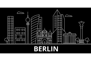 Berlin silhouette skyline. Germany - Berlin vector city, german linear architecture, buildings. Berlin line travel illustration, landmarks. Germany flat icon, german outline design banner